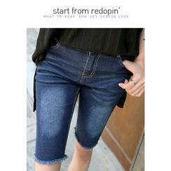 REDOPIN - Fringe-Hem Washed Skinny Denim Shorts