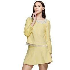 O.SA - Set: Lace-Panel Top + Skirt