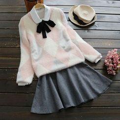 YOYO - Argyle Furry-Knit Sweater