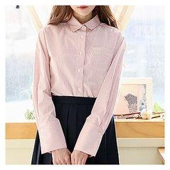 Sechuna - Bird-Embroidered Stripe Shirt