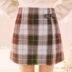 icecream12 - Check A-Line Mini Skirt