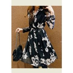 REDOPIN - Floral Print Tied-Waist Dress