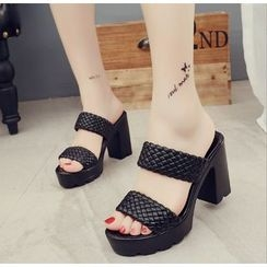 BAYO - High Heel Double Strap Slide Sandals