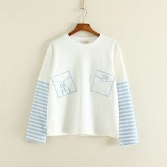 三木社 - 刺绣条纹长袖T恤
