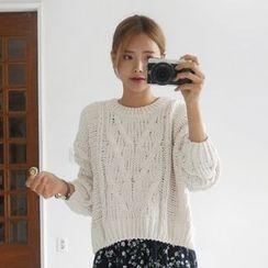 Seoul Fashion - Wool Blend Cable-Knit Sweater
