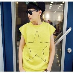 Graffix - Cap-Sleeve Star Perforated T-Shirt