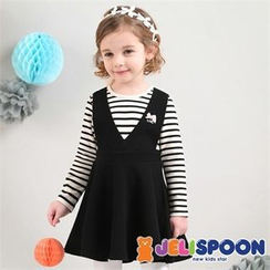 JELISPOON - Girls Inset Striped Top A-Line Jumper Dress