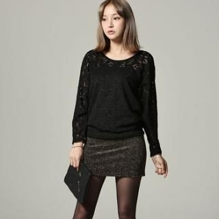 SARAH - Dolman-Sleeve Lace Dress