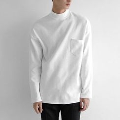 Seoul Homme - Mock-Neck Long-Sleeve T-Shirt
