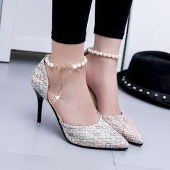 Wello - 編織踝帶高跟鞋
