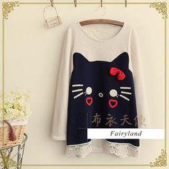 Fairyland - Cat Print Long-Sleeve Top