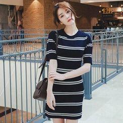 mimi&didi - Short-Sleeve Stripe Knit Sheath Dress