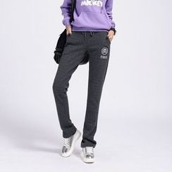 Kiyoko - Drawstring Waist Fleece-Lined Sweatpants