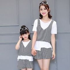 Romantica - 親子套裝: 短袖上衣 + 無袖條紋短款上衣 + 條紋短褲