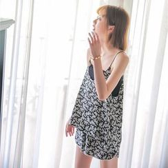Porta - Set: Floral Print Camisole Top + Sweat Shorts