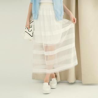 Tokyo Fashion - Inset Skirt Striped Tulle Maxi Skirt