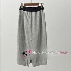 JVL - Slit-Back Drawstring Midi Skirt