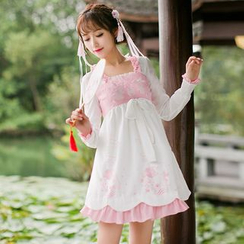 Candy Rain - Long-Sleeve Embroidered A-line Dress