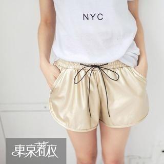 Tokyo Fashion - Faux-Leather Drawstring-Waist Shorts