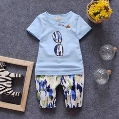 POMME - Kids Set: Printed Short-Sleeve T-shirt + Shorts