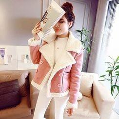 Bloombloom - Fleece Lined Cropped Faux Suede Jacket