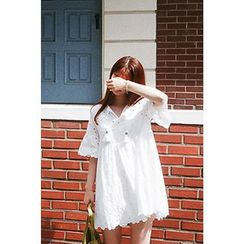 CHERRYKOKO - Tasseled Eyelet-Lace Mini Babydoll Dress