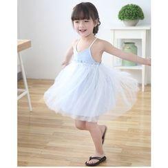 Cuckoo - Kids Stripe Strappy Tulle Dress