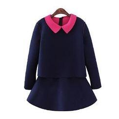 Sunny House - Set: Contrast-Collar Top + Skirt