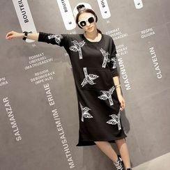 Dream Girl - Long-Sleeve Print T-Shirt Dress