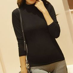 camikiss - Turtleneck Long-Sleeve Top