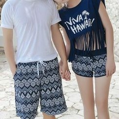 Roseate - Couple Matching Swim Shorts/ Set: Bikini + Swim Shorts + Lettering Short Sleeve Top