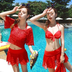 Dolfin - Set: Ruffle Trim Bikini Top + Lace Swim Skirt + Cover-Up