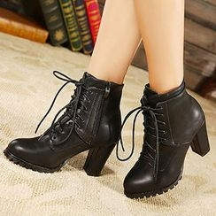 Mancienne - High-Heel Lace-Up Ankle Boots