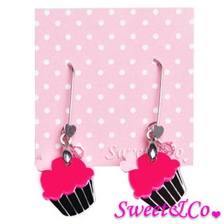 Sweet & Co. - Sweet&Co Mini Silver Fuchsia Cupcake Crystal Earrings