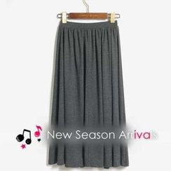 MYHEART - Elastic-Waist Pleated Maxi Skirt