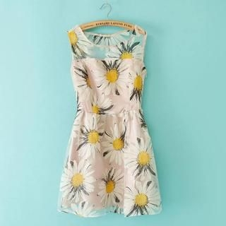 JVL - Tulle-Panel Floral Sleeveless Dress