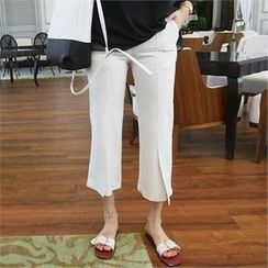 LIPHOP - Slit-Hem Cropped Pants