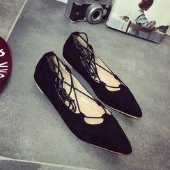BAYO - Pointy Lace Up Flats