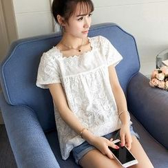 Colorful Shop - Short-Sleeve Lace Top