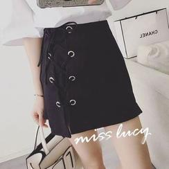 QZ Lady - Lace-Up A-Line Skirt
