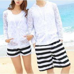 Bonne Nuit - Couple Matching Set: Light Jacket + Shorts