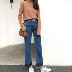 MePanda - Two-Tone Wide Leg Jeans