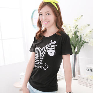 RingBear - Rhinestone 'Zebra' Print T-Shirt
