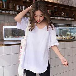 RASA - Plain Elbow-Sleeve T-Shirt