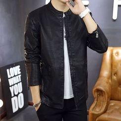 NINETTE - Faux-Leather Zip Jacket