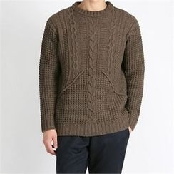 THE COVER - Wool Blend Cable-Knit Sweater