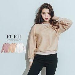 PUFII - 金屬圓環蜜桃絨質大學T落肩上衣