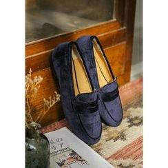 GOROKE - Round-Toe Velvet Penny Loafers