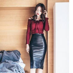 Dimanche - Set: Off Shoulder Rib Knit Top + Faux Leather Pencil Skirt