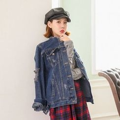 Seoul Fashion - Metal-Button Distressed Denim Jacket